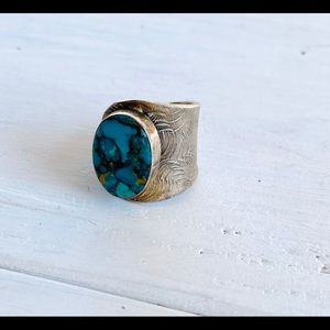 Sterling Silver Turquoise Adjustable Ring